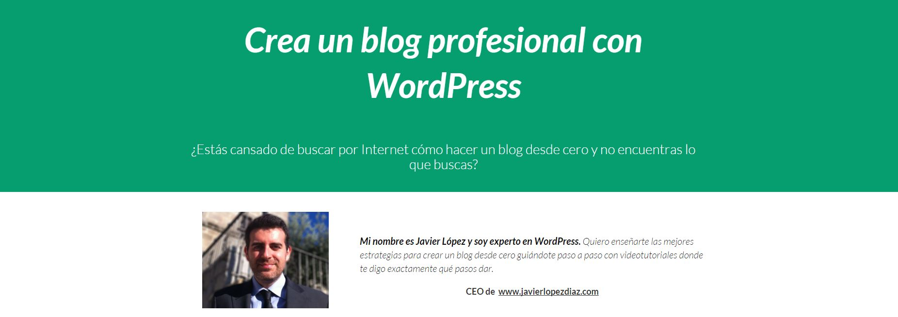 landing del curso de wordpress